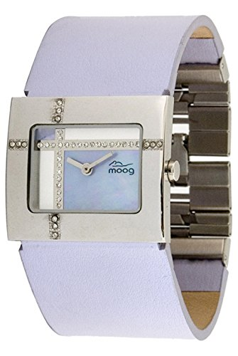 Moog Paris Mondrian Women's Watch with Blue Dial, Blue Genuine Leather Strap & Swarovski Elements - M44372F-003