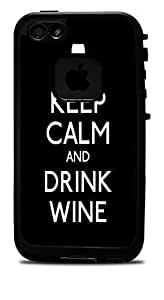 """Keep Calm and Drink Wine Black Vinyl Decal Sticker for iPhone 6 (4.7"""") Lifeproof Case"""