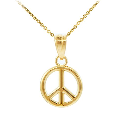 10k Yellow Gold Peace Symbol Charm Pendant Necklace (S), 18