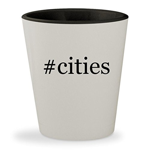 #cities - Hashtag White Outer & Black Inner Ceramic 1.5oz Shot (Party City In Phoenix)
