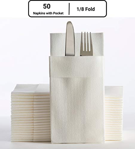 Moyes Home Kangaroo Air Laid Napkin,Perfect Size(16x16 inches,1/8 Fold, Pack of 50) Linen-Feel, Disposable,Soft & Perfect Dinner Napkins Built-in Flatware Pocket for Weddings,Parties or Events (White)