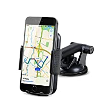 Car Mount EC Technology Universal Phone Holder 360 Degrees Rotation, Extendable Arm, Strong Sticky Gel Pad Car Mount for iPhone/Nexus/Samsung S6/S5 Note 5/4/3 Huawei P9 and Other Smartphones