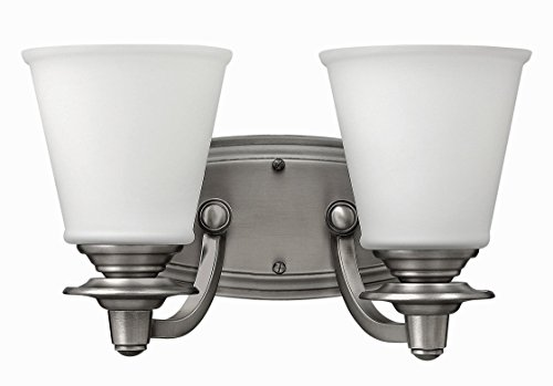 Hinkley 54262PL Traditional Two Light Bath from Plymouth Collection in Pwt, Nckl, B/S, - Bath Lighting Plymouth