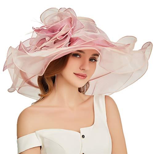 F FADVES Women Oganza Sun Hat Church Kentucky Derby Wide Brim Wedding Formal Fascinator Hat Pink