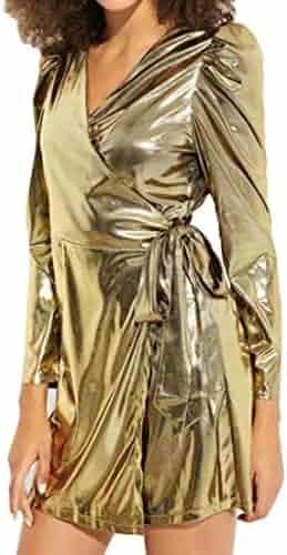 5e3a50e9 Fubotevic Women's Long Sleeve Bandage V-Neck Fashion Skinny Sexy Cocktail  Party Midi Dress