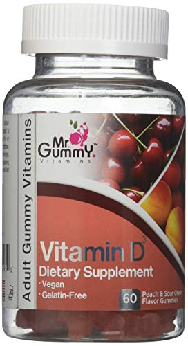 Mr. Gummy Vitamin D-3 Dietary Supplement Gummies, Peach & Sour Cherry Flavor, 60 Count (1)