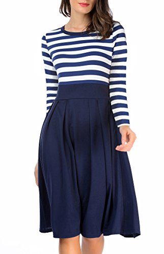 Scoop Dresses Sleeve Short 3 Neck Modest navyblue AAMILIFE Casual Swing 4 Stripe Women's 4 Long I8qwBxE7