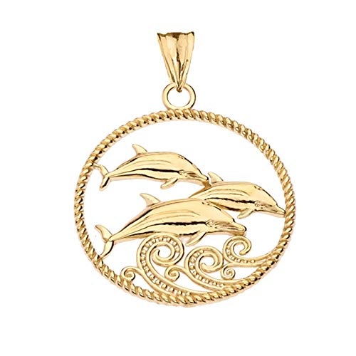 Elegant 14k Gold Roped Dolphin Trio Charm Pendant Necklace