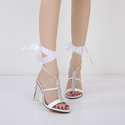 Toe Wedding Satin Women's White Crystal Pumps YC L Silk Night Ribbon Shoes Bridesmaid F2615 Platform 6 zEqSy0aw