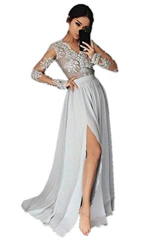 Senza A Promworld Donna Maniche Classico Ad Silver Vestito Linea qBaaAwXz1