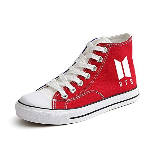 Lona Casuales Negros Alto De Zapatos Bts Tacón Red06 Unisex TwqIRAxt
