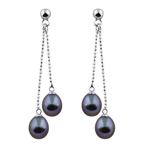 Handpicked AAA Cultured Freshwater Black Pearl 7.5-8mm Rhodium-plated 925 Silver Double Dangling Earrings ()