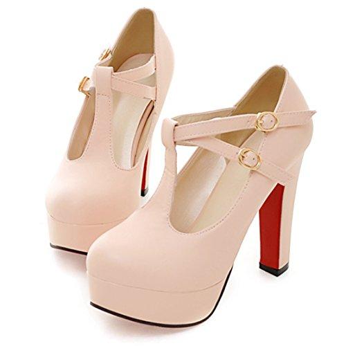 AIYOUMEI Damen T-Spangen Pumps mit 12cm Absatz Plateau High Heels Damen Blockabsatz Elegant Abendschuhe Rosa