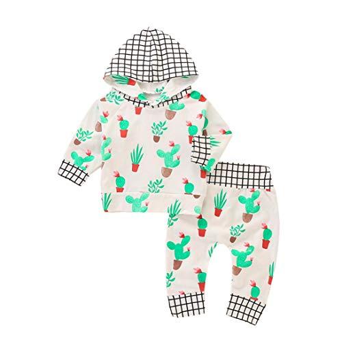 Winsummer Infant Newborn Baby Girl Boy Autumn Winter Clothes Plaid Long Sleeve Hoodies Tops Pullover+Pants 2pcs Set (White, ()