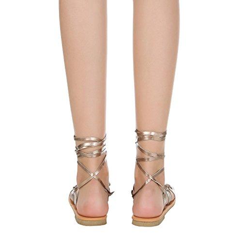 Dellytop Donna Scarpe Estive Open Toe Tacco Piatto Stringate Sandalo Gladiatore Oro