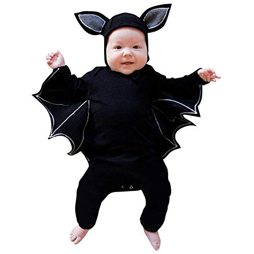 Fiaya Newborn Infant Baby Halloween Cosplay Costume Cartoon Bat Style Romper Hat Outfits Set NB-24M (Black1, 0-6 Months)]()