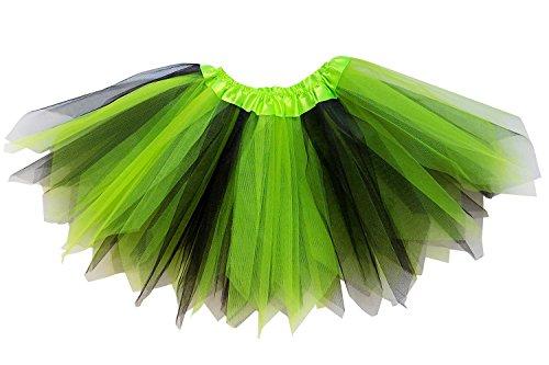 So Sydney Adult Plus Kids Size PIXIE FAIRY TUTU SKIRT Halloween Costume Dress Up (M (Kid Size), Lime Green & Black)]()