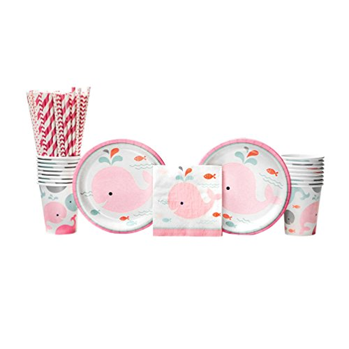 - Lil' Spout Pink Girl Baby Shower Party Supplies Pack for 16 Guests: Straws, Dessert Plates, Beverage Napkins, and Cups
