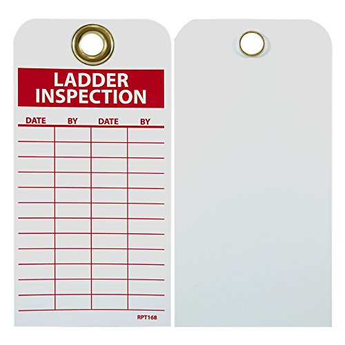 NMC RPT168G Ladder Inspection Tag - [25 Pack] 3 in. x 6 in. Vinyl 2 Sided Inspection Tag with White/Red Text on Red/White Base