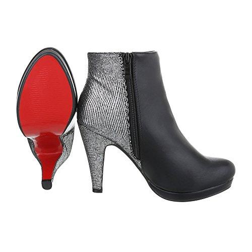 Ital-Design - Botas plisadas Mujer negro/plateado