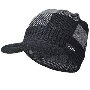 Ruphedy Homme Visière Bonnet Casquette Hiver Épais Doublure Polaire Chapeaux B5042