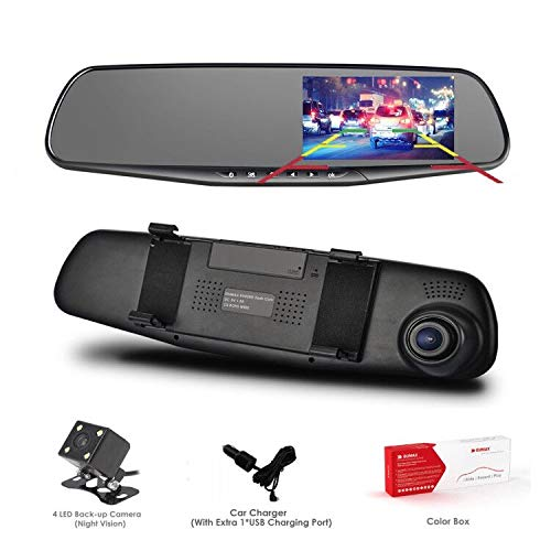 Dash Cam, OUMAX Dual Lens Car Camera, Car Video Recorder Vehicles Front Rear DVR, 4.3 Inch Screen, HD1080P - Black