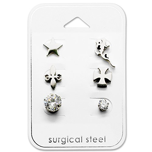 Stainless Steel (SET OF 3) Assorted Mismatch (Lizard, Star, Cross, Fleur De Lis Stud Earrings 28518