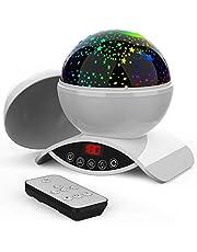 Amouhom Sterrenhemel projectorlamp met afstandsbediening, led-nachtlampje met oplaadbare batterij, 360 graden draaien en timing slaaplicht voor kinderen slaapkamer voor vrouwen