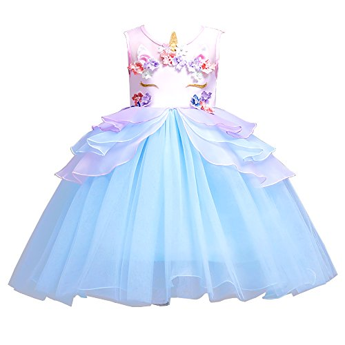 ebd7f2c03 Amazon.com  Kids Summer Unicorn Party Tutu Dress for Girls Embroidery  Flower Ball Gown Baby Girl Princess Dresses for Party  Clothing