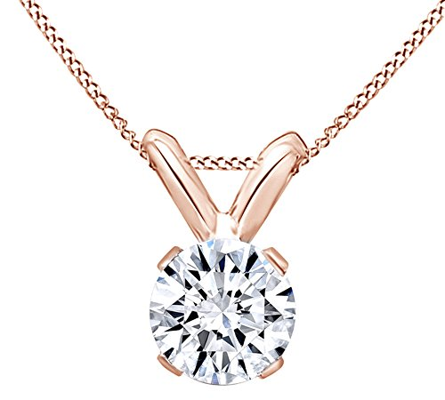 AFFY Round Cut White Natural Diamond Solitaire Pendant Necklace in 14k Rose Gold (0.25 Cttw)