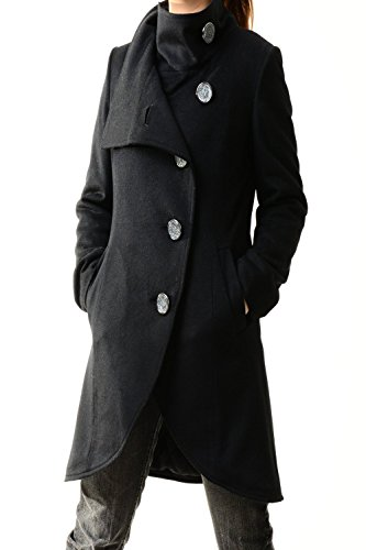 Women's Crystal Buttoned Cashmere Coat Black by jeanie's lifestyle