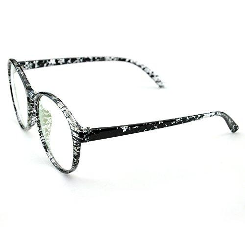 PenSee Womens Oversized Frame Inspired Horned Rim Clear Lens Circle Eyeglasses (Transparent Black Splash)