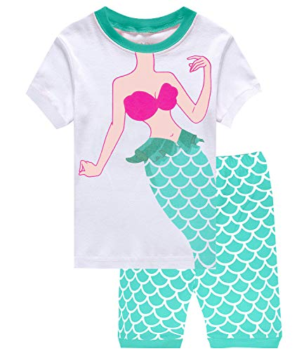 Little Pajamas Mermaid Sleepwear 100% Cotton Summer Short Toddler Pjs Clothes Shirts Awhite/Mermaid 8 by Little Pajamas
