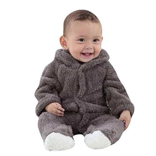 Tronet Winter Baby Romper, Infant Girls Boys Keep Warm Cartoon Hooded Romper Jumpsuit (Gray, 12(Age:9-12Months)) -