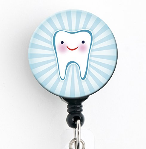 Smiling Tooth Dental - Retractable Badge Reel with Swivel Clip and Extra-Long 34 inch Cord - Badge Holder ()