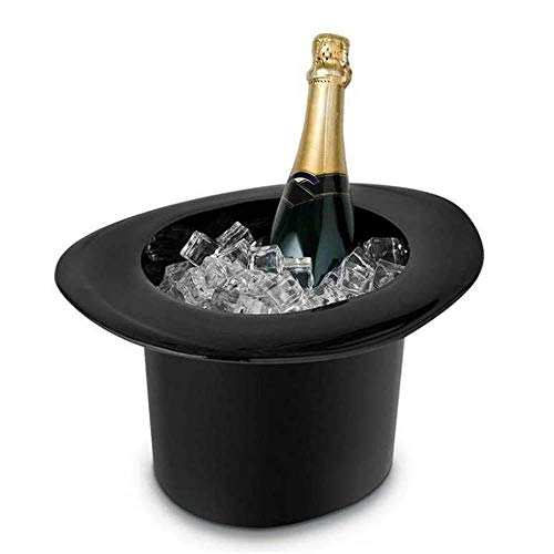 (Top Hat Ice Bucket,UMIWE Oval Ice Bucket Champagne Wine Bottle Cooler Vintage Top Hat Wine And Champagne Cooler Black Acrylic Fashion Magic Cap Modeling Club Bar Set Ice Shock Blinking Beer Wine)