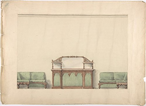 Fine Art Print | British, 19th Century | Design for a Mirrored, Marble-Topped Cabinet and Two Sofas | Vintage Wall Art | 24in x 18in ()