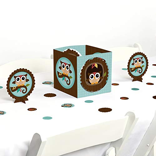 Big Dot of Happiness Owl - Baby Shower or Birthday Party Centerpiece & Table Decoration -