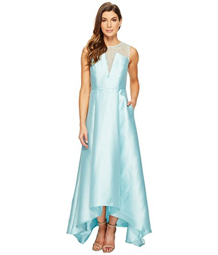 - Adrianna Papell Women's Lace Bodice Yoke and Mikado Combo Ball Gown Aqua Glass Dress
