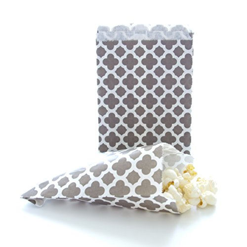 Silver Anniversary / Wedding Candy Bags, Spanish Tile Design (25 Pack) - Gray Favor Bags, Grey Birthday Party Loot Bags (Graduation Popcorn Bags compare prices)