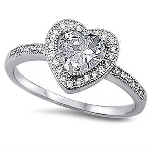 Clear Cz Heart .925 Sterling Silver Ring Size 12