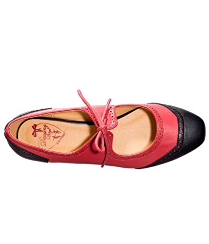 Two Lady Heeled Retro Tone 50s Vintage Apparel Liberty Red Black Flats Banned Shoes 4qSRwn