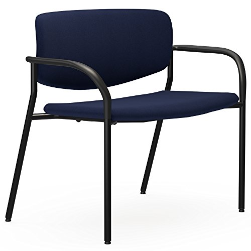 Lorell Made in America Bariatric Guest Chairs with Fabric Seat & Back, 83120 (Dark Blue)