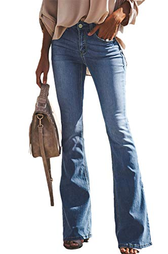 (GUNLIRE Women's Juniors Light Blue Bell Bottom Flare Jeans High Waisted Stretch Wide Leg Fashion Long Pants)