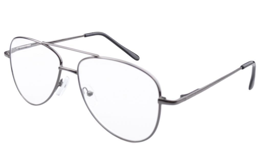 Eyekepper Gafas de lectura con montura de metal, diseño tipo piloto plateado metal oscuro +0.00