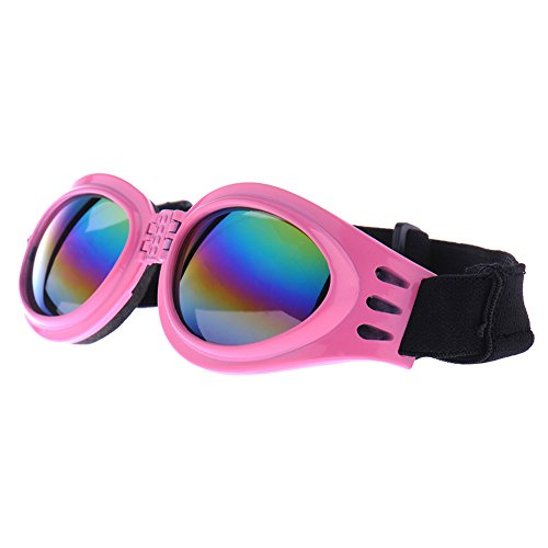 Leagway Dog Sunglasses, Eye Wear Protection Waterproof Pet Sunglasses Goggles Glasses for Dogs about over 13 lbs, Foldable, Adjustable Strap (Pink) (Case Xxs Wide)