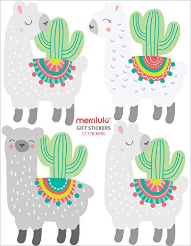 Llama and Cactus - Gift Bag Stickers | Set of 12 | Llama Party Favor | Sticker Tag