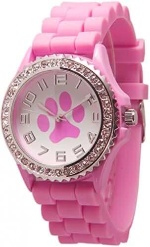 Pink Paw Face Silicone Watch w/ CZ Crystal Rhinestones