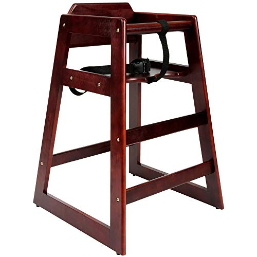 Wooden high Chair for Babies, Infants and Toddlers + highchair Safety Straps, for Restaurant and Home use, Mahogany