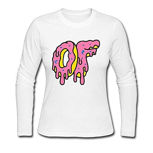 Linliqun Lady Odd Futrue Metling Donuts Long Sleeve T Shirt Woman Cotton Tee Printing